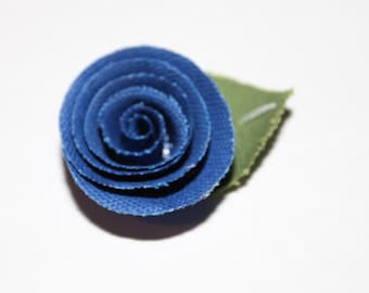 Dark Blue Flower Men's Lapel Pin - Wedding / Formals / Everyday