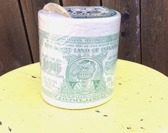 Vintage Retro Estate Big Wheel Tissues For Hi-Rollers Unopened Toilet Paper Money Cash The Great Land of Inflation Tax Land Political Humor