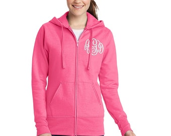 Sweatshirt Zip Up Monogrammed Womens Hooded Jacket-- zip up ladies sweatshirt jacket with several color options