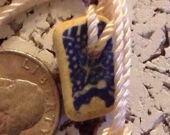 "Pottery Shard ""Blue Willow"" Pendant"