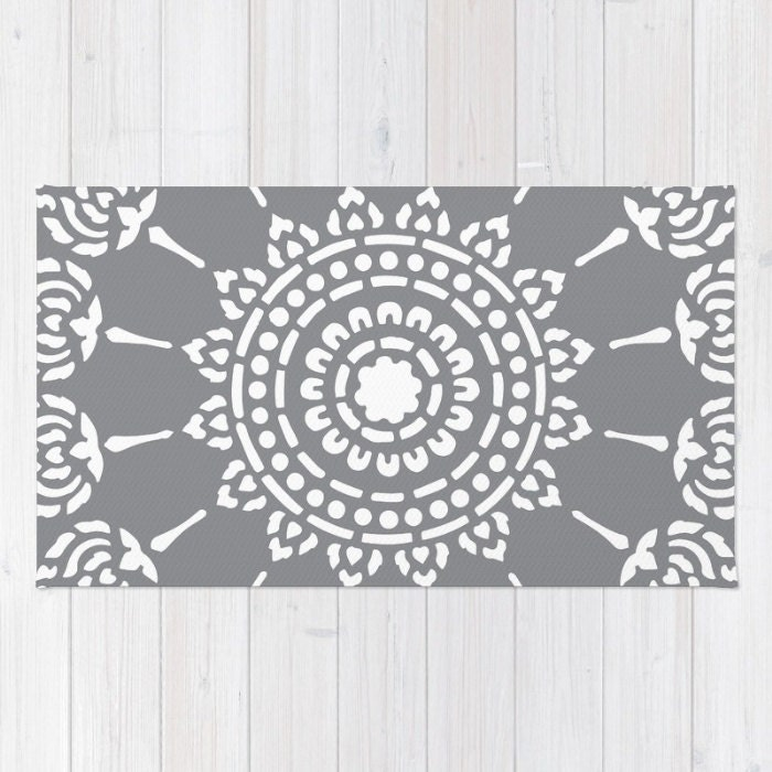 Gray Medallion Area Rug Modern Mandala Area Rug Grey And