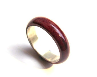 wooden ring,purple heart, wood wedding band, wood wedding ring, cool ring for him, unique ring, promise ring, wood and silver ring, purple