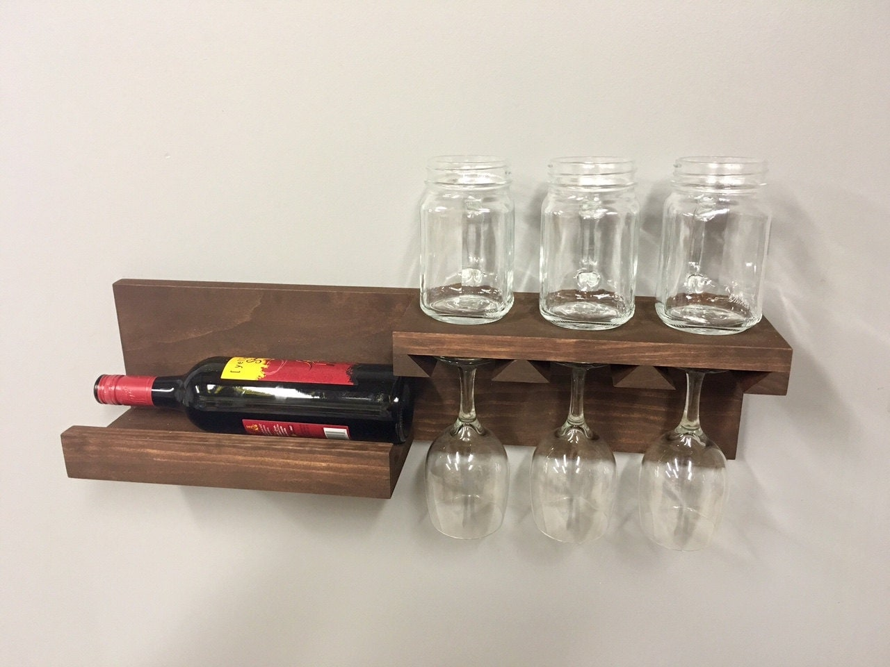 Wall Mounted Wine Rack Shelf Wine Glass Holder Wall Shelf