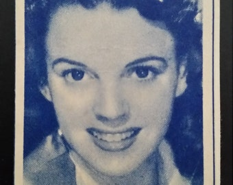 Original 1947 Judy Garland Turf Cigarette Card, Hollywood, Movie, Poster, MGM, Vintage