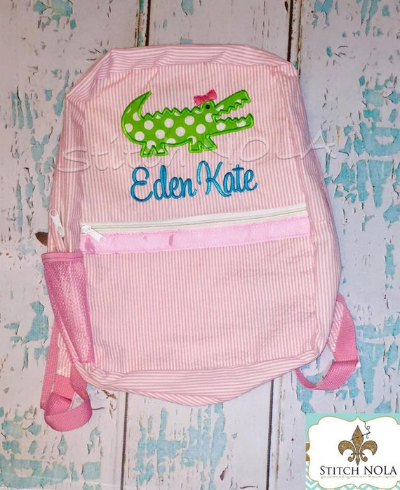 Seersucker Backpack with Alligator, Seersucker Diaper Bag, Seersucker School Bag, Seersucker Bag, Diaper Bag, School Bag, Book Bag, Backpack