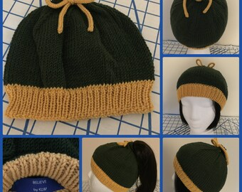 Original Curly Hair/2Way Hat in Forest Green & Yellow