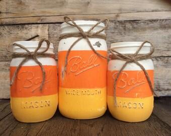 Candy Corn Mixer Mason Jar Set