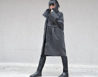 Grey wool Jacket, Italian wool coat, high neck collar party coat, extravagant party coat for plus size women, evening coat, party wool coat