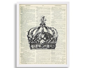 Royal Crown Print Royalty Decor Living Room Art Print Jewels Art Dictionary Page Print Vintage Look Antique Book 16x20 XL Gift for Princess
