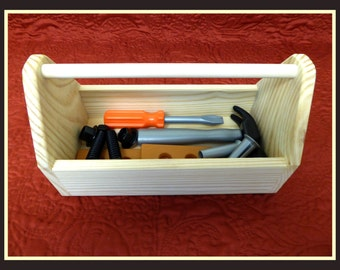 Toy Tool Box/Solid Wood Carryall/Kid's Wooden Tool Box and Tool Set/Educational Toy/Hammer/Screwdriver/Boy's Gift/Building Toy/Creative Gift