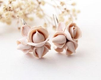 Beige earrings, Rose earrings, champagne earrings, romantic earrings, beige wedding, beige bridesmaid gift, minimalist earrings