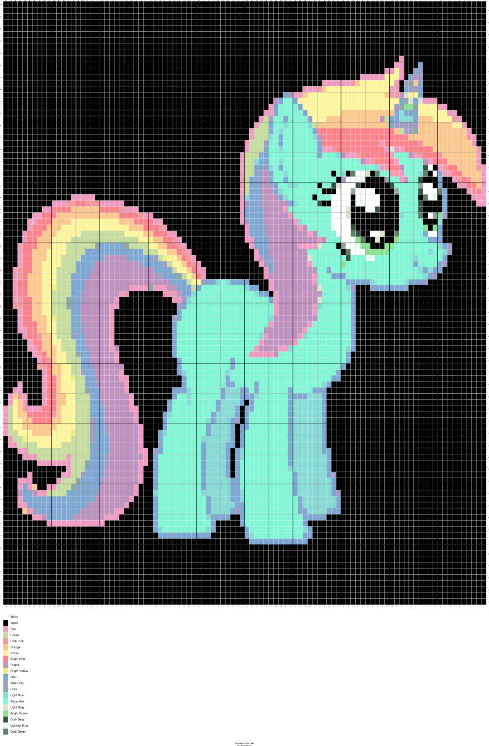 Rainbow Unicorn Knitting Pattern : Knit rainbow unicorn chart knitting graph intarsia