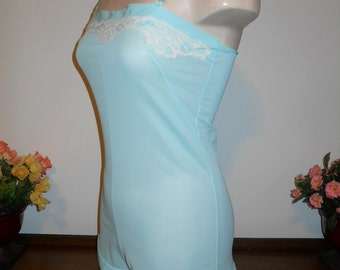 Rare Vintage 1950's ~ Teddy Onesie Romper ~ Snap Gusset ~  Silky Blue Nylon ~ Lacy Teddy ~ VLV ~ Pin Up Girl ~ Lolita ~ Size 32