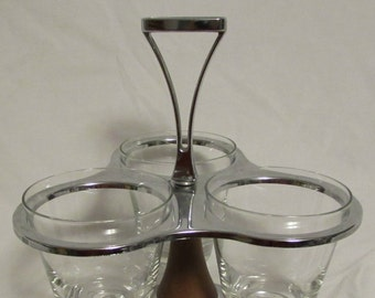 Condiment Server/Caddy, Spinning, Restaurant Quality, Three Condiment Cups, 1970's