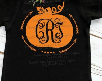Pumpkin Arrow Monogram Child's Shirt