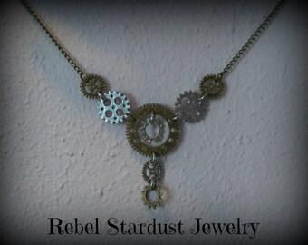 Steampunk gear necklace #3