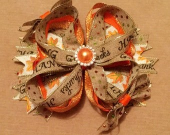 Orange Thanksgiving Bow, Happy Thanksgiving Boutique Bow, Beige & Orange Bow, TOP SELLER, Fall Boutique Bow, Autumn Bow, Give Thanks Bow