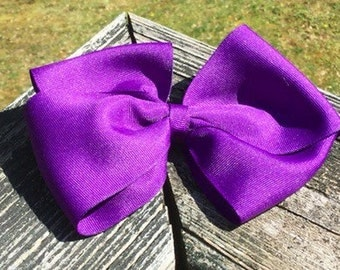 6 Inch Large Oversized Purple Big Bow With Clip. Purple/Oversized/Big Bow