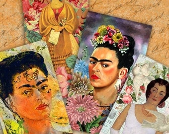 FRIDA KAHLO - Part 3 Digital Collage Sheet Printable Download Gift tags Greeting cards Vintage Paper Craft