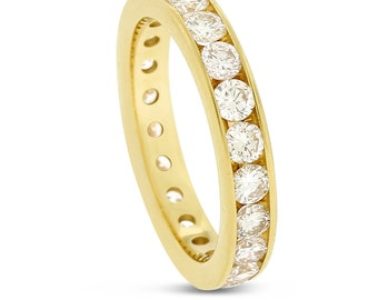 2.08 CT Natural Round Diamond Channel Set Eternity Band in Solid 14k Yellow Gold