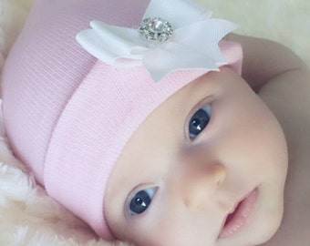 New! Newborn Hospital Hat w/ White Bow with Rhinestone on it 1st Keepsake. You Choose Hat Color.  Beautiful
