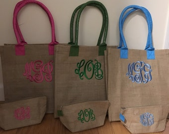 Matching Set-Monogram beach tote bag with zipper pouch bag