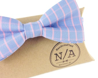 Pale Blue and Pink Striped Bow Tie, Men's Adjustable Pre-Tied Bow Tie