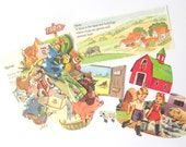 Farm paper craft pack: 35 vintage paper die cut style pieces cut from books. Craft kit for scrapbooks, collage, card making, children EP250