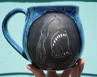 Hand Carved Shark Mug 20oz