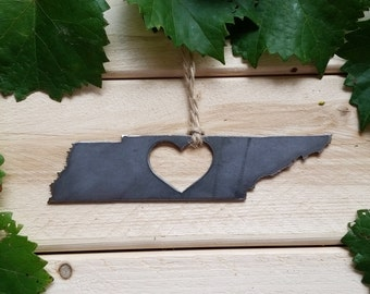 Tennessee Christmas Ornament TN Metal State Heart Christmas Tree Ornament Holiday Gift Industrial Decor Wedding Favor By BE Creations