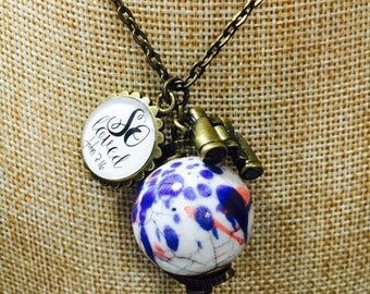For God So Loved the World- Globe necklace-So loved charm