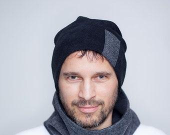 Beanie cap with tweed detail