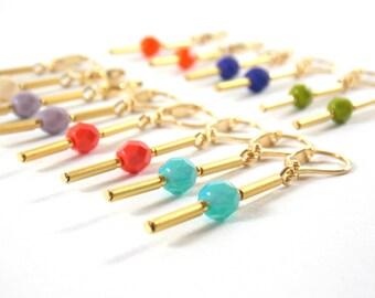 Kumi - Boucles d'oreilles plaquées or 16k  perles en verre de bohème tchèque et fermoir gold filled