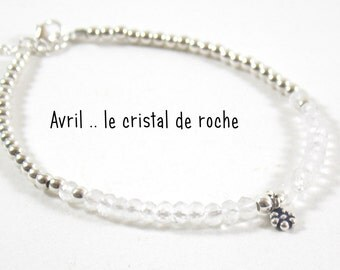 Born in April- rock crystal. Give her the stone of month of birth on a pretty silver bracelet 925.