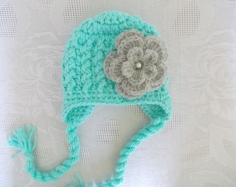 Crochet baby hat Mint green baby hat Newborn winter hat Baby girl hat Earflap baby hat Winter baby hat Newborn girl hat Newborn earflap hat