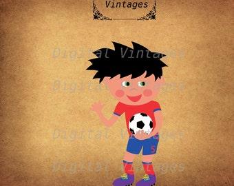 Soccer Football Futbol Kid Child Cartoon Color Illustration Image Graphic Download Printable rain deer Clip Art Prints 300dpi svg jpg png