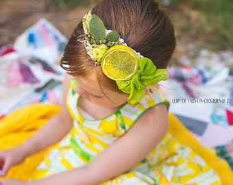 Lemon headband, tieback, photoprop, lemonade,