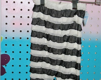 Black and white Ruffled Romper
