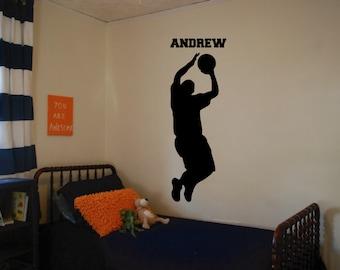 Basketball Player with Custom Name Wall Decal Version 3