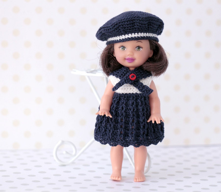 Crochet Mini Doll Clothes : Miniature crocheted nautical style dress 4 by Creativhook