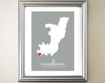 Congo Custom Vertical Heart Map Art - Personalized names, wedding gift, engagement, anniversary date