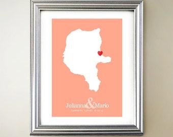Lipari Custom Vertical Heart Map Art - Personalized names, wedding gift, engagement, anniversary date
