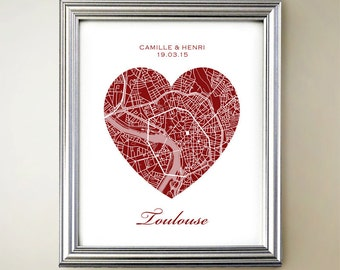 Toulouse Heart Map Print