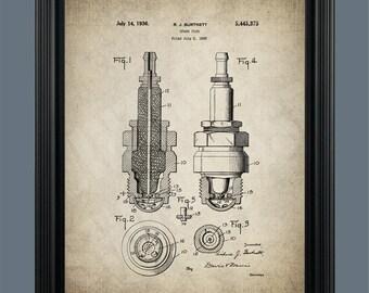 Spark Plug Patent Print Poster - Car Part Art - Shop Art - Engine Art - Garage Art - Guy Gift - Automotive Art Decor - #095
