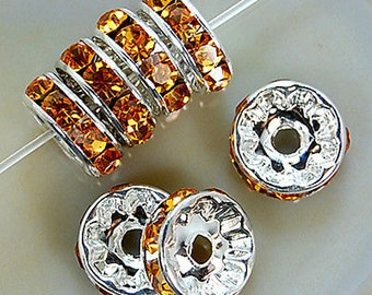 Silver Plated 8mm Golden Crystal Rhinestone Spacer Wheel Rondelles Bead charms -beads spacers charm,  stone connectors spacers