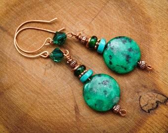 Copper Earrings,Tribal Earrings,Swarovski Earrings,Gypsy Earrings,Jasper Jewelry,Safari Earrings,Wirewrapped Earrings,Green Earrings