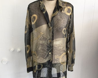 S/M Sheer Button Up Blouse