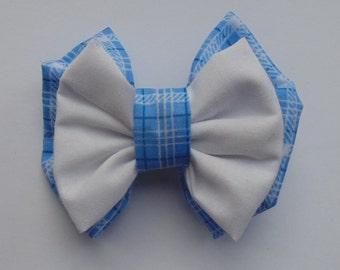 Blue Gingham Fabric Hair Double Bow