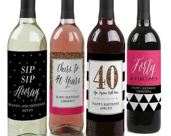 40th Birthday Wine Bottle Labels - Custom Chic 40th Birthday Wine Bottle Labels - Funny Personalized Wine Gift for Women - Set of 4 Labels