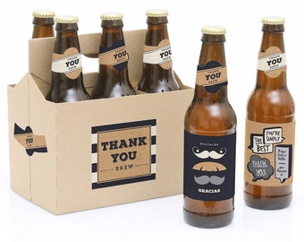 Thank You Beer Bottle Labels - 6 Beer Bottle Labels & 1 Carrier Gift - Waterproof